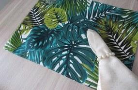 6 peças - lugar americano Floral Verde- repelente a agua
