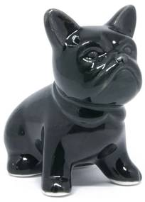 Cachorro Bulldog Francês de porcelana preto