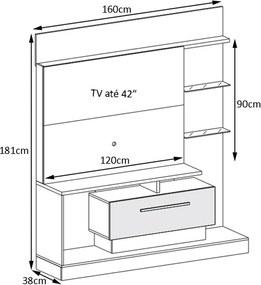 Painel Home Theater 1.6 para TV até 42 Sala de Estar Apolo Texture Deck/Off White - Gran Belo