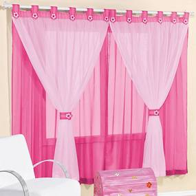 Cortina Juvenil 2,00m x 1,70m Tecido Voal para Varão Simples - Pink Pink