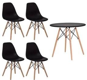Conjunto Mesa Eames 90cm + 4 Cadeiras Eames - Preto - Concept