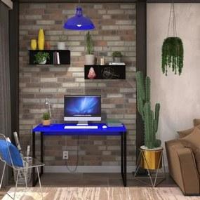 Mesa em Metal com tampo de Aço Colorido | Tam: 80x60cm |Cor: Azul e Preto