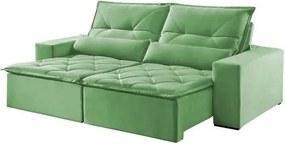 Sofá Retrátil e Reclinável 4 Lugares Verde 2,50m Reidy