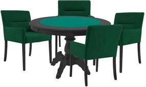 Mesa de Jogos Carteado Redonda Montreal Tampo Reversível Preto com 4 Cadeiras Vicenza Verde - Gran Belo