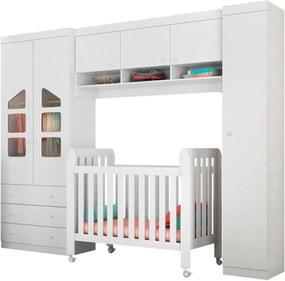 Quarto de Bebê Modulado Eloísa e Berço Lollipop Branco - Phoenix Baby