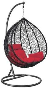 Cadeira Balanço Poltrona Rede Teto Ovo Varanda Sacada Jardim - Preto Vermelho