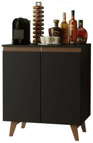 Balcão Cantinho do Café Madesa Reims 70 cm 2 Portas Preto Cor:Preto