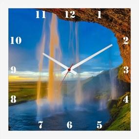 Relógio de Parede Personalizado Paisagem Islândia Cachoeira 30x30cm