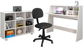 Mesa Escrivaninha Idealle Nicho Multiuso Toys Branco e Cadeira Giratória CS-02 Preta - Mpozenato