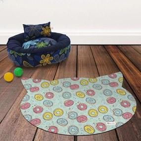 Tapete PET Mdecore Cabeça de Gato Donut Verde54x39cm