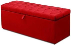 Calçadeira Recamier Baú Casal King 195 cm Italia Suede Animale Vermelho - DS Móveis