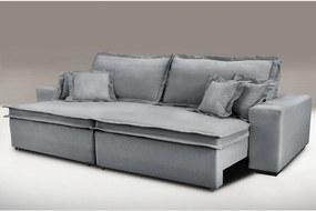 Sofa Retrátil e Reclinável com Molas Cama inBox Premium 2,72m tecido em linho Cinza Escuro