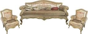 Jogo de Sofá Bege e Dourado Luis XV 3 Lugares 2 Poltronas