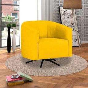 Poltrona Decorativa Giratória com Balanço Bianca Suede Amarelo - D'Monegatto