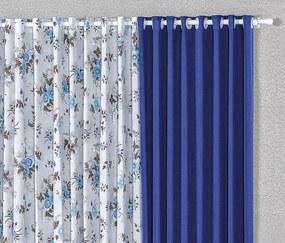 Cortina Helen 2,00m x 1,70m Varão Simples - Azul / Floral