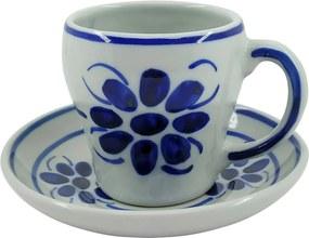 Xícara de Chá com Pires em Porcelana Azul Floral 200 ml