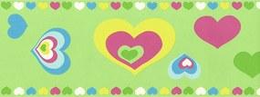 Faixa De Parede Corações Verde E Colorido - Kawayi - Importado Lavável...