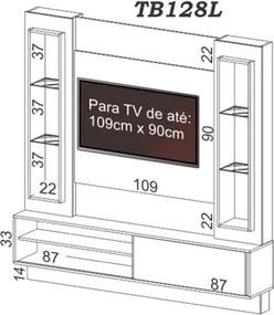Estante Home Theater para TV TB128L com Led Off White/Nobre - Dalla Costa