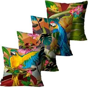 Kit com 4 Almofadas Premium Peluciada Mdecore Floral Colorido45x45cm