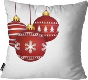 Capa para Almofada Mdecor De Natal Bolas Branco