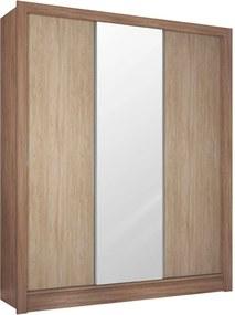 Guarda Roupa Casal 3 Portas Wood Nogal/Vanilla Demóbile