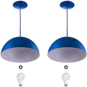 2 Lustres Pendente Meia Lua 40cm Alumínio Azul + Lampada