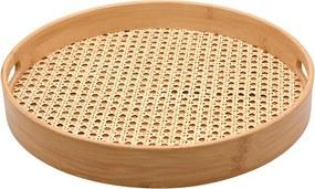 Bandeja Redonda De Bambu Com Textura De Palha - Oikos