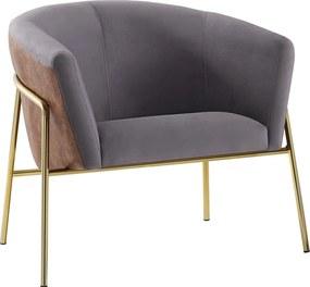 Poltrona Decorativa Sala de Estar Gamora Cinza/Marrom com pés em Aço Dourados - Gran Belo