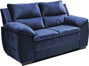 Sofá Com Fibra No Encosto Apogeu 2 Lugares Tecido Suede Azul - Umaflex