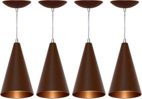Kit 4 Pendentes Cone (café Textura / Bronze)