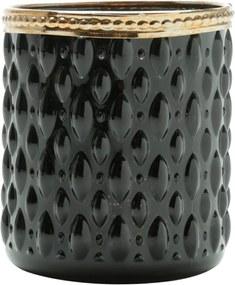 Cachepot De Vidro E Zamac Bristol Preto E Dourado 8X9Cm Lyor