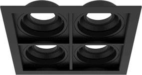 Plafon Embutir Quadruplo Aluminio Injetado Preto Quadra