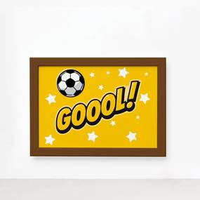 Quadro Infantil Futebol Gol Amarelo 33x43 Moldura Marrom