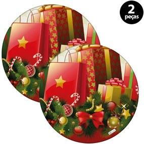 Capa para Sousplat Mdecore Natal Presente Vermelho2pçs