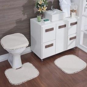 Jogo para Banheiro Natural para Pintura com 3 Peças Natural