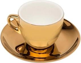 Jogo Xícaras Chá Porcelana Com Pires 6 Peças Branco E Dourado Versa 220ml 17367 Wolff