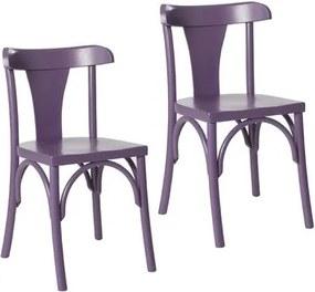 Kit 2 Cadeiras Londres Estilo Clássico em Madeira Maciça - Pintura em Laca Roxo