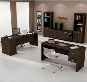 Kit Pernix 2 Mesas De Escritório + 2 Armários Alto + Armário Baixo + 3