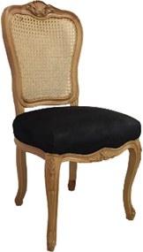 Cadeira em Madeira Preto Luis XV - 106x50x55cm