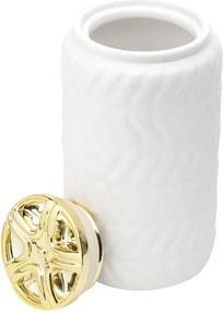 Pote Decorativo De Cerâmica Lemon Branco C/Tampa Dourada 11,4X19,7cm