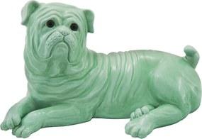 Escultura de Cachorro em Porcelana Verde