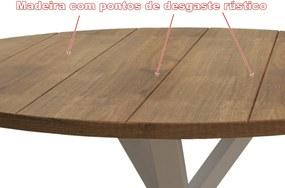 Mesa de Jantar Redonda Tamanho (150cm) em Madeira Maciça - Cor Branco com Mel