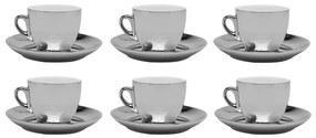 Jogo De Xícaras De Porcelana De Chá Com Pires Prata Versa 6 Peças 220ml 17368 Wolff