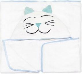 Toalha de Banho Pet Forrada com Capuz e Viéz Bichinho Gato Azul