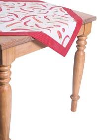 Toalha de Mesa para Chá Karsten Quadrada Dia a Dia Pimenta Branco 78 X 78