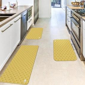 Kit com 3 Tapetes de Cozinha Mdecore Abstrato AmareloÚnico
