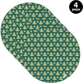 Capa para Sousplat Mdecore Natal Pinheiros Verde2pçs