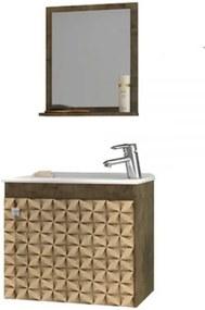 Conjunto Para Banheiro Siena Madeira Rústica com Madeira 3D – Bechara Móveis