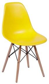 Cadeira Eames Eiffel Base Madeira - Amarelo