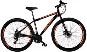 Bicicleta Aro 29 Quadro 17 Aço 21 Marchas Freio a Disco Mecânico Preto e Laranja  Dropp
